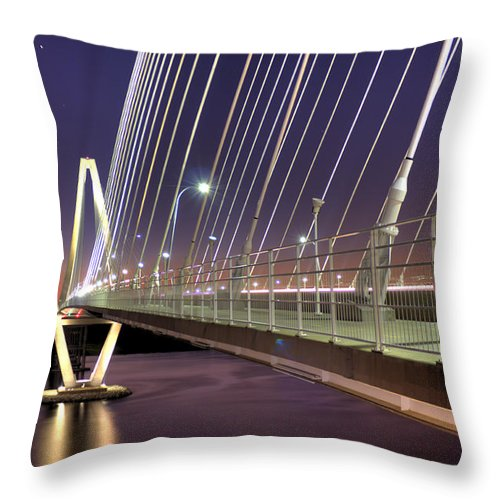 Arthur Throw Pillow featuring the photograph Arthur Ravenel Jr. Bridge by Dustin K Ryan