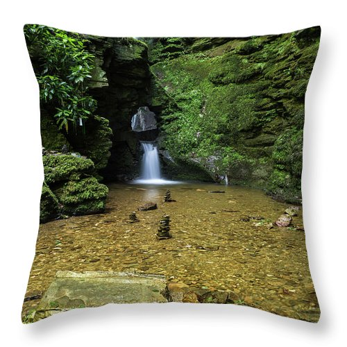 Landscape Throw Pillow featuring the photograph Beautiful Flowing Waterfall With Magical Fairytale Feel In Lush by Matthew Gibson