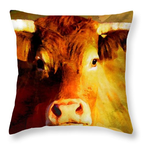 Bull Throw Pillow featuring the digital art Bull by Anna J Davis