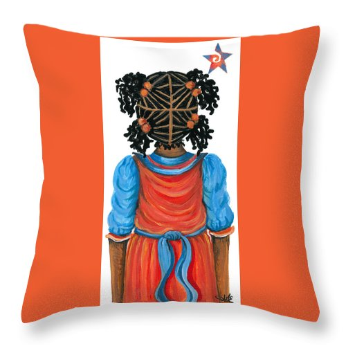 Throw Pillow featuring the painting Angel by Sonja Griffin Evans