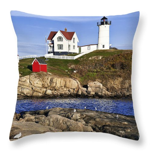 Cape Neddick Throw Pillow featuring the photograph Nubble Lighthouse by John Greim