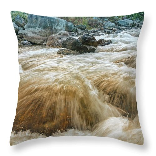 Reshi Throw Pillow featuring the photograph River Water Flowing Through Rocks At Dawn by Rudra Narayan Mitra
