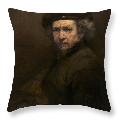 Throw Pillow featuring the painting Self-portrait by Rembrandt Van Rijn