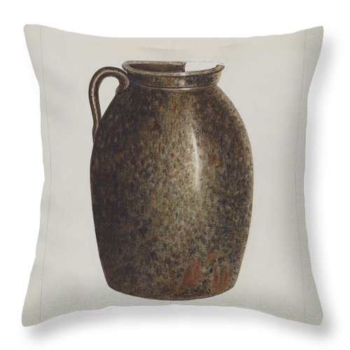 Throw Pillow featuring the drawing Stoneware Jar by Annie B. Johnston