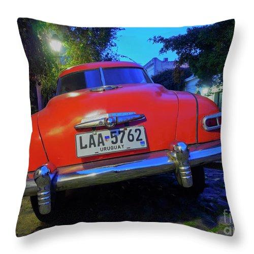 South America Throw Pillow featuring the photograph Vintage Car In Colonia Del Sacramento, Uruguay by Karol Kozlowski