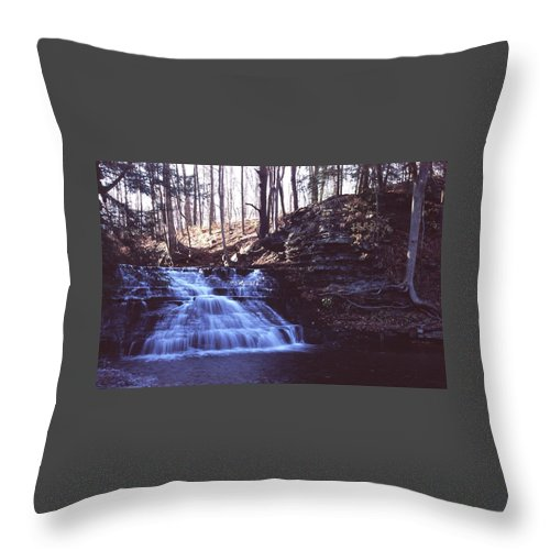 Waterfall Throw Pillow featuring the photograph 111401-4 by Mike Davis