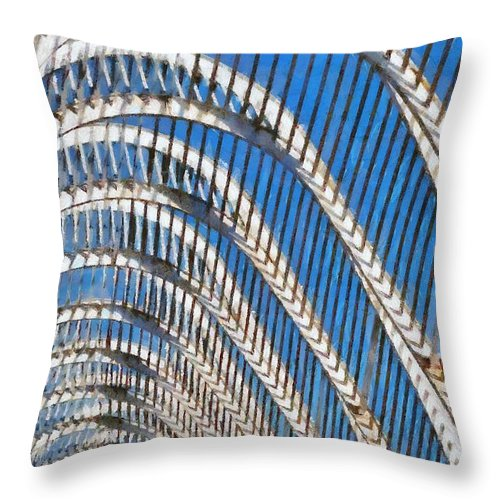 Olympic Throw Pillow featuring the painting Archway In Olympic Stadium In Athens by George Atsametakis