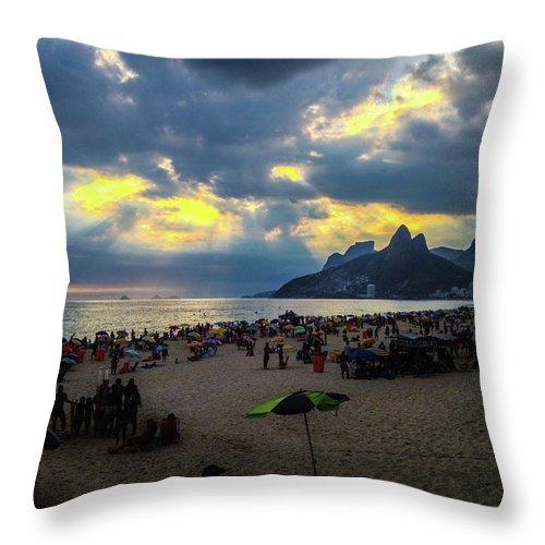 Ipanema Throw Pillow featuring the photograph Ipanema Beach by Cesar Vieira