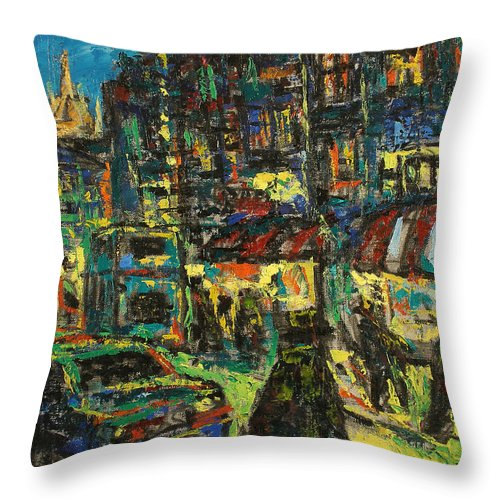 People Throw Pillow featuring the painting City by Robert Nizamov