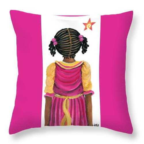 Throw Pillow featuring the painting Lele by Sonja Griffin Evans