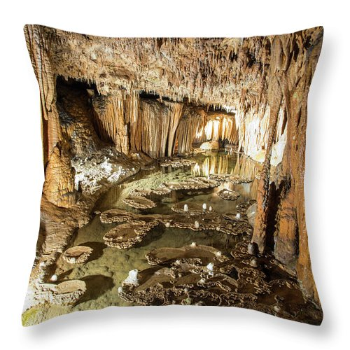 Onondaga Cave Throw Pillow featuring the photograph Onondaga Cave Formations by Michael Munster