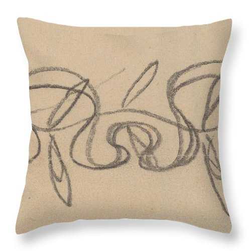 Throw Pillow featuring the drawing Study For A Border Design by Charles Sprague Pearce