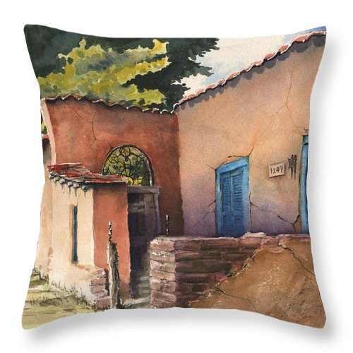Adobe Throw Pillow featuring the painting 1247 Agua Fria Street by Sam Sidders