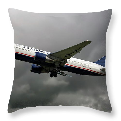 American Throw Pillow featuring the photograph American Airlines Boeing 767-200 by Smart Aviation