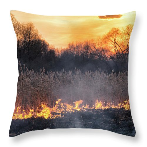 Nature Throw Pillow featuring the photograph Fires Sunset Landscape by Oleksandr Masnyi