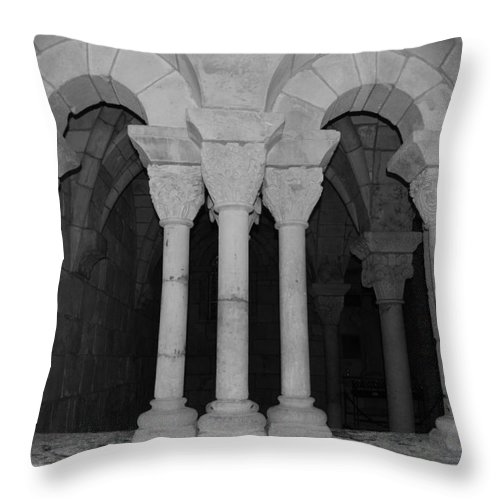 Black And White Throw Pillow featuring the photograph Miami Monastery by Rob Hans