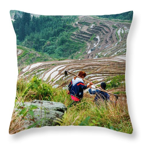 Terrace Throw Pillow featuring the photograph Longji Terraced Fields Scenery by Carl Ning