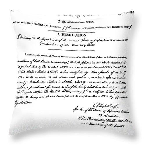 13th Amendment Throw Pillow featuring the photograph 13th Amendment, 1865 by Granger