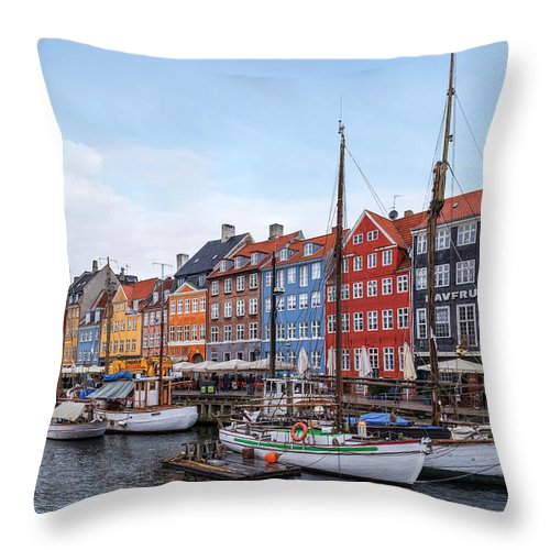 Nyhavn Throw Pillow featuring the photograph Copenhagen - Denmark by Joana Kruse