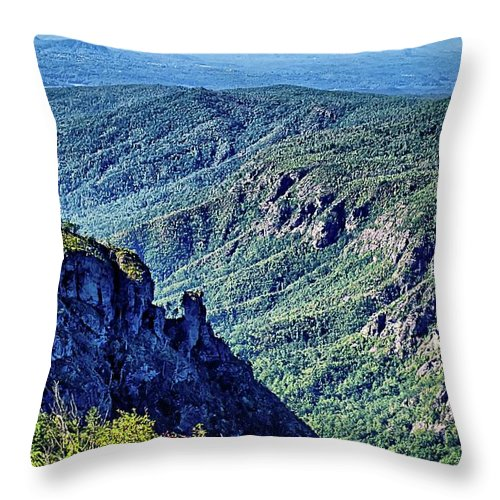 Mountain Throw Pillow featuring the photograph Hawksbill Mountain At Linville Gorge With Table Rock Mountain La by Alex Grichenko