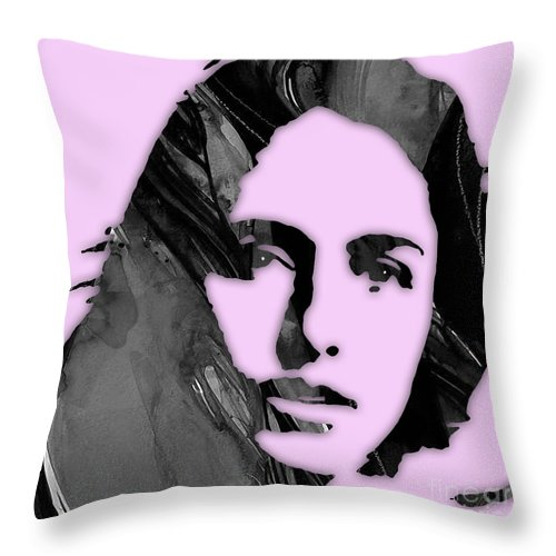 Joan Baez Throw Pillow featuring the mixed media Joan Baez Collection by Marvin Blaine