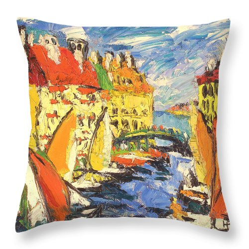 Bay Throw Pillow featuring the painting City by Robert Nizamov