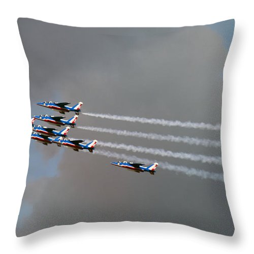 Airshow Throw Pillow featuring the photograph Patrouille De France by Angel Ciesniarska