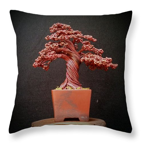 142 Annealed Copper Wire Tree Sculpture Throw Pillow For Sale By Ricks Tree Art