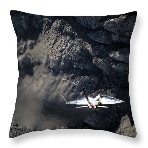 Aircraft Throw Pillow featuring the photograph Hornet by Angel Ciesniarska