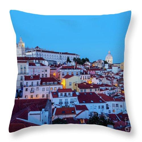 Alfama Throw Pillow featuring the photograph Lisbon, Portugal by Karol Kozlowski