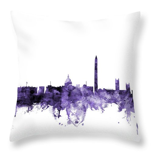 Skyline Throw Pillow featuring the digital art Washington Dc Skyline by Michael Tompsett