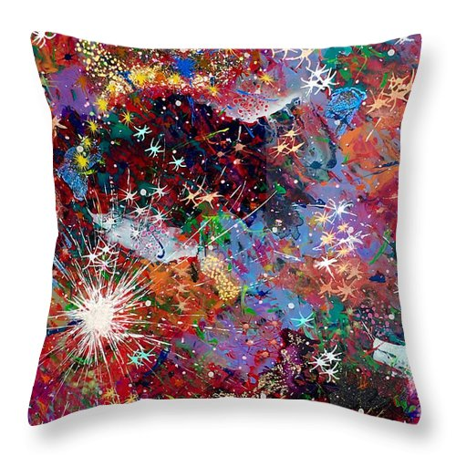 Abstract Throw Pillow featuring the painting 16-2 Yellow Space by Patrick OLeary