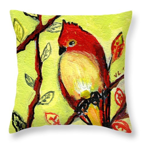 Bird Throw Pillow featuring the painting 16 Birds No 3 by Jennifer Lommers