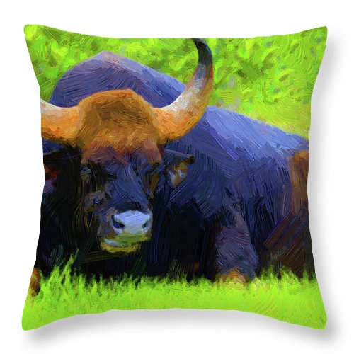 Animal Throw Pillow featuring the digital art Bison by Anna J Davis