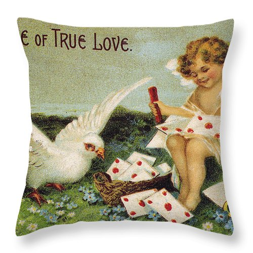 1910 Throw Pillow featuring the photograph Valentines Day Card by Granger
