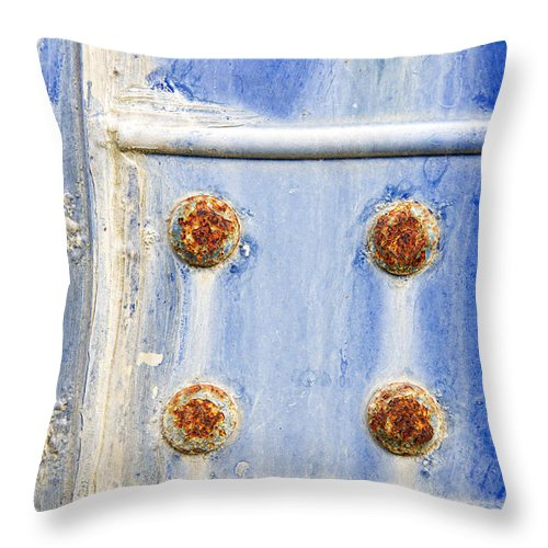 Abandoned Throw Pillow featuring the photograph Blue Metal by Tom Gowanlock