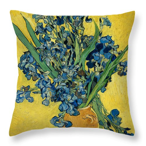 Vincent Van Gogh Throw Pillow featuring the painting Irises by Vincent van Gogh