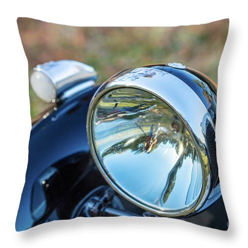 1930 Mg Throw Pillow featuring the photograph 1743.0421930 Mg Headlight by M K Miller