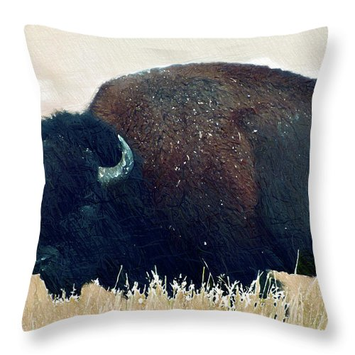 Bison Throw Pillow featuring the digital art Bison by Anna J Davis