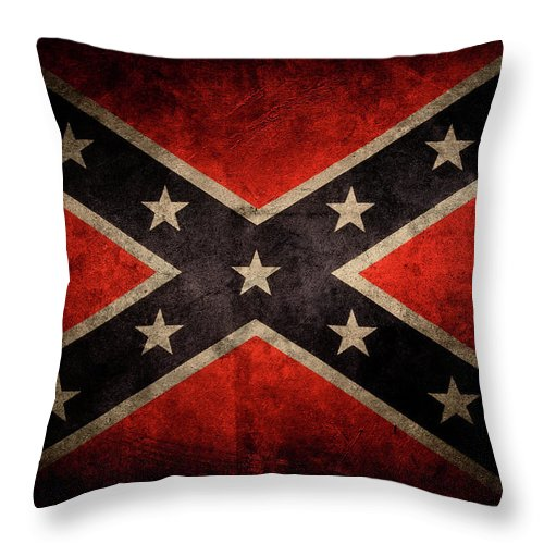 Aged Throw Pillow featuring the photograph Confederate Flag 7 by Les Cunliffe