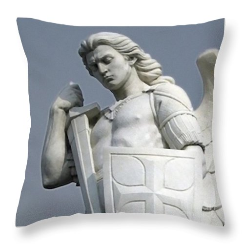 Breton Throw Pillow featuring the painting Saint Michael by Archangelus Gallery