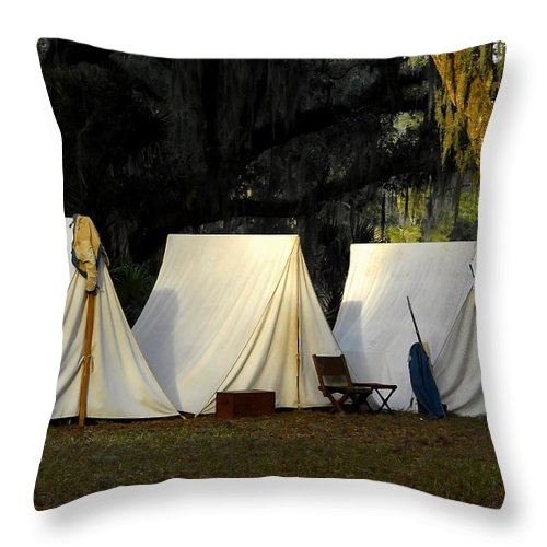 Army Tents Throw Pillow featuring the photograph 1800s Army Tents by David Lee Thompson