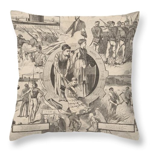 Throw Pillow featuring the drawing 1860-1870 by After Winslow Homer