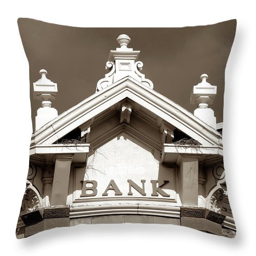 Fine Art Photography Throw Pillow featuring the photograph 1880 Bank by David Lee Thompson