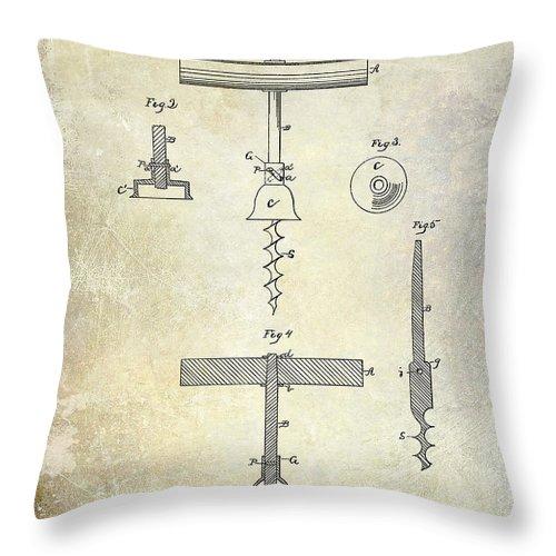 Corkscrew Throw Pillow featuring the photograph 1884 Corkscrew Patent by Jon Neidert