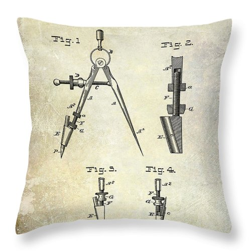Compass Patent Throw Pillow featuring the photograph 1888 Draftsmans Compass Patent by Jon Neidert