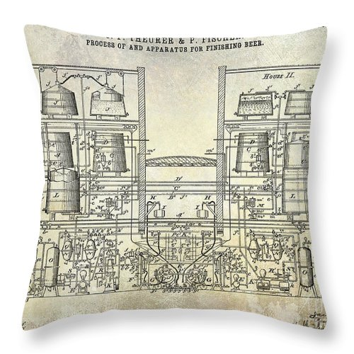 Beer Throw Pillow featuring the photograph 1897 Beer Brewering Patent by Jon Neidert