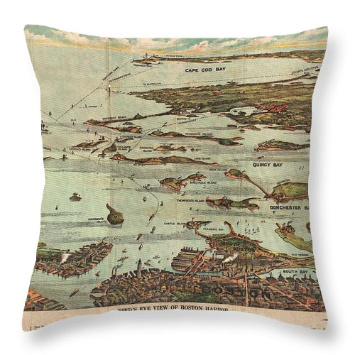 1899 View Map Of Boston Harbor From Boston To Cape Cod And Provincetown Throw Pillow featuring the photograph 1899 View Map Of Boston Harbor From Boston To Cape Cod And Provincetown by Paul Fearn