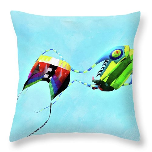 Art Throw Pillow featuring the painting Kites Flying During Kite Festival by George Atsametakis