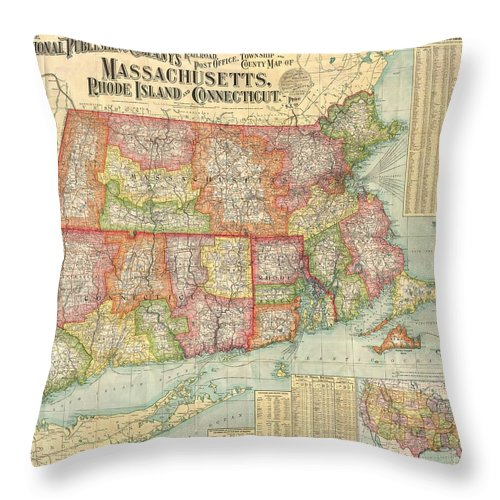 19 Throw Pillow featuring the photograph 1900 National Publishing Railroad Map Of Connecticut Massachusetts And Rhode Island by Paul Fearn